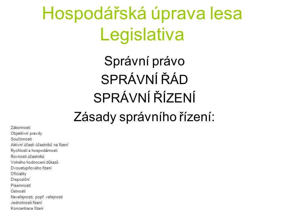Hospodářská úprava lesa Legislativa Správní právo SPRÁVNÍ ŘÁD SPRÁVNÍ ŘÍZENÍ Zásady správního řízení: Zákonnosti Objektivní pravdy Součinnosti Aktivní
