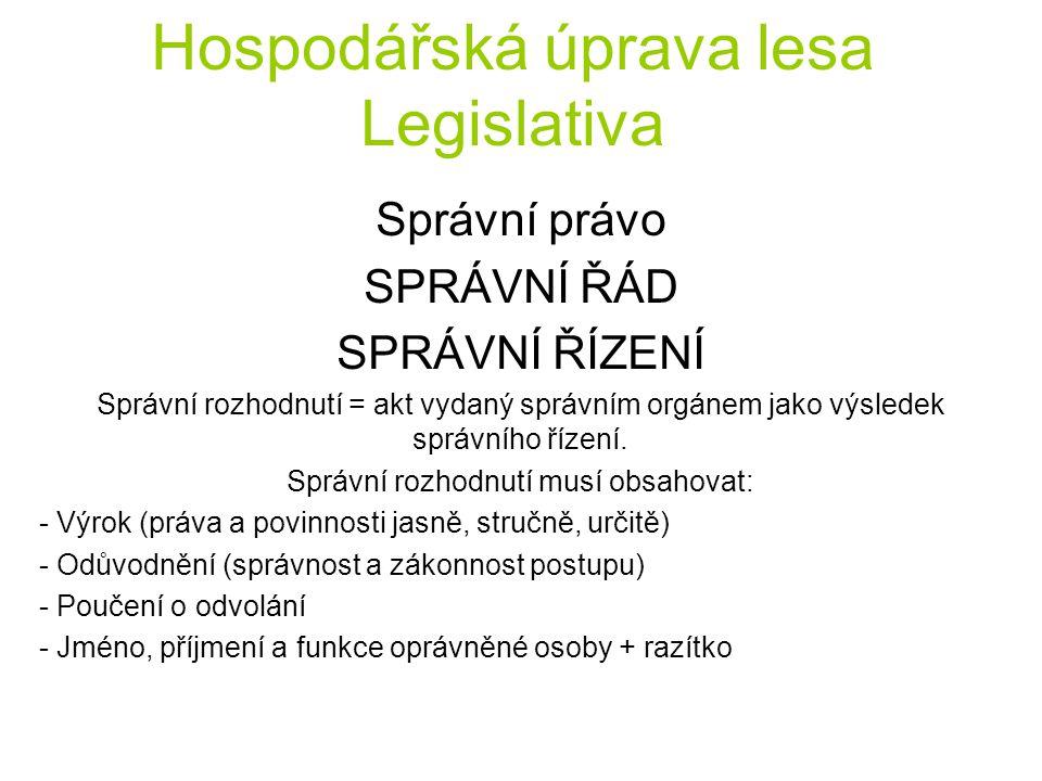 Hospodářská úprava lesa Legislativa Správní právo SPRÁVNÍ ŘÁD SPRÁVNÍ ŘÍZENÍ Správní rozhodnutí = akt vydaný správním orgánem jako výsledek správního