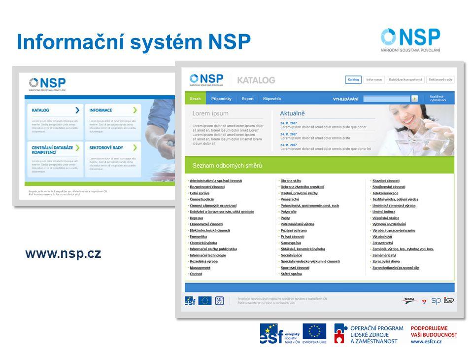 Informační systém NSP www.nsp.cz
