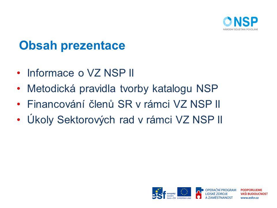 Obsah prezentace Informace o VZ NSP II Metodická pravidla tvorby katalogu NSP Financování členů SR v rámci VZ NSP II Úkoly Sektorových rad v rámci VZ