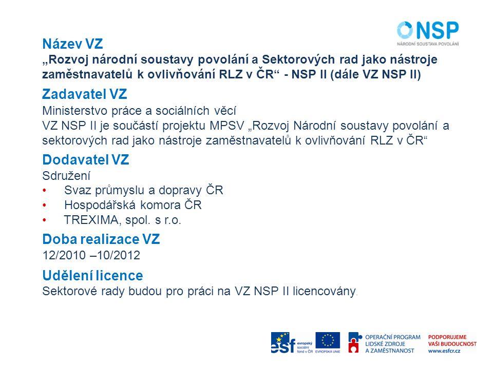 """Název VZ """"Rozvoj národní soustavy povolání a Sektorových rad jako nástroje zaměstnavatelů k ovlivňování RLZ v ČR"""" - NSP II (dále VZ NSP II) Zadavatel"""