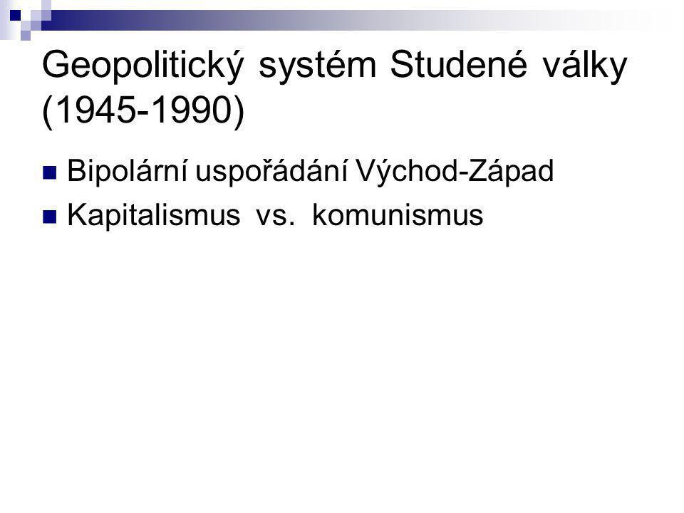 Geopolitický systém Studené války (1945-1990) Bipolární uspořádání Východ-Západ Kapitalismus vs. komunismus