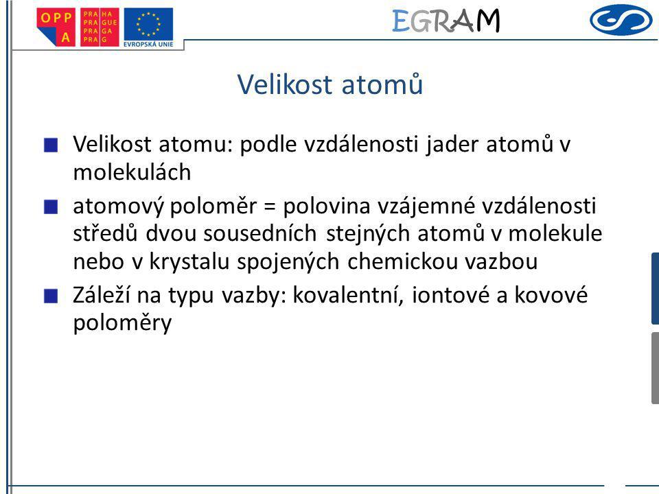 EGRAMEGRAM Velikost atomů Velikost atomu: podle vzdálenosti jader atomů v molekulách atomový poloměr = polovina vzájemné vzdálenosti středů dvou souse