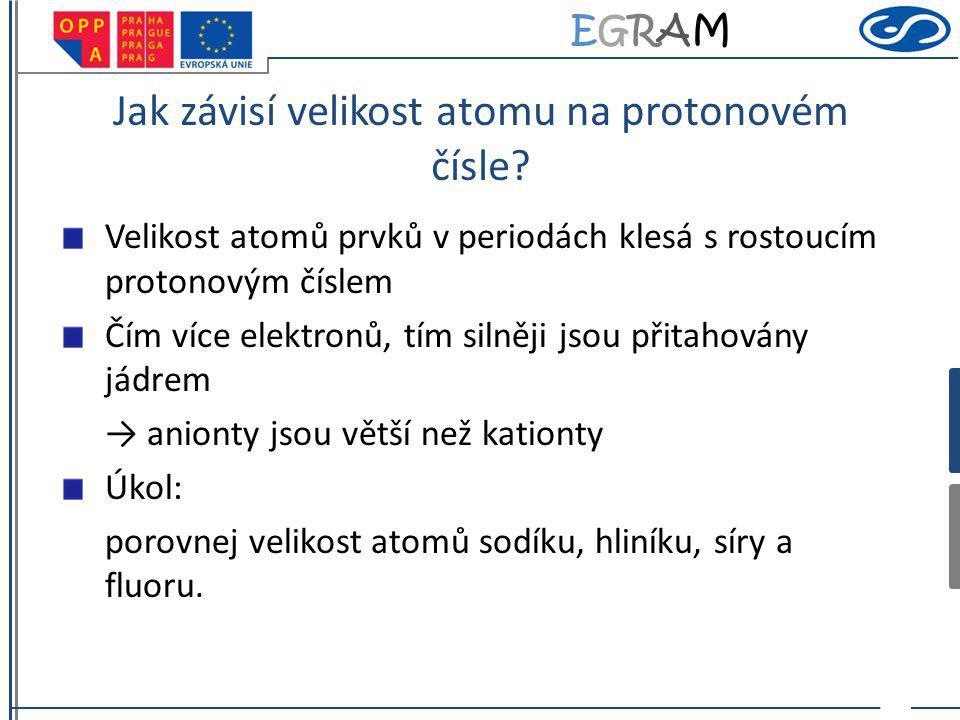 EGRAMEGRAM Jak závisí velikost atomu na protonovém čísle? Velikost atomů prvků v periodách klesá s rostoucím protonovým číslem Čím více elektronů, tím