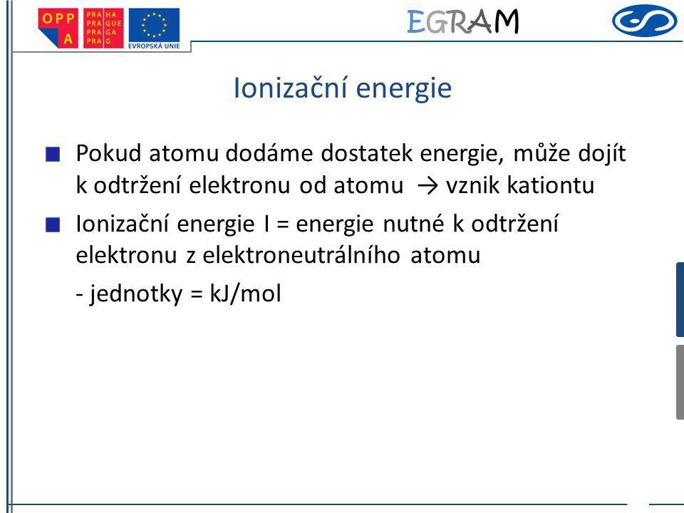 EGRAMEGRAM Ionizační energie Pokud atomu dodáme dostatek energie, může dojít k odtržení elektronu od atomu → vznik kationtu Ionizační energie I = energie nutné k odtržení elektronu z elektroneutrálního atomu - jednotky = kJ/mol