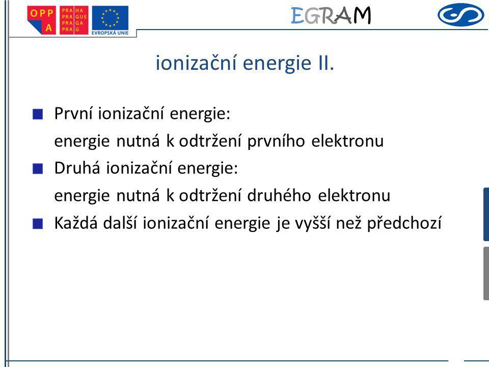 EGRAMEGRAM ionizační energie II. První ionizační energie: energie nutná k odtržení prvního elektronu Druhá ionizační energie: energie nutná k odtržení