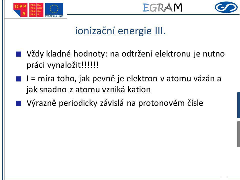 EGRAMEGRAM ionizační energie III. Vždy kladné hodnoty: na odtržení elektronu je nutno práci vynaložit!!!!!! I = míra toho, jak pevně je elektron v ato
