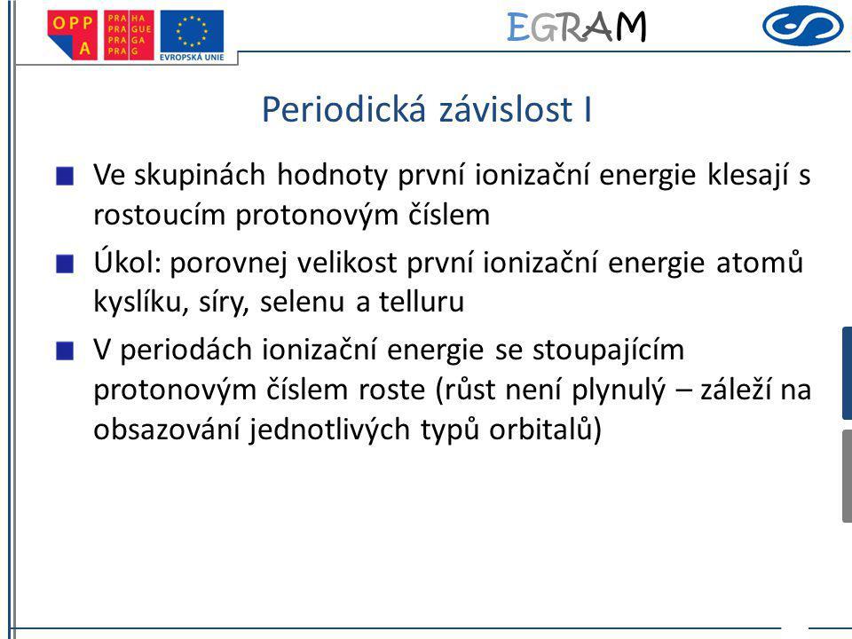 EGRAMEGRAM Periodická závislost I Ve skupinách hodnoty první ionizační energie klesají s rostoucím protonovým číslem Úkol: porovnej velikost první ion