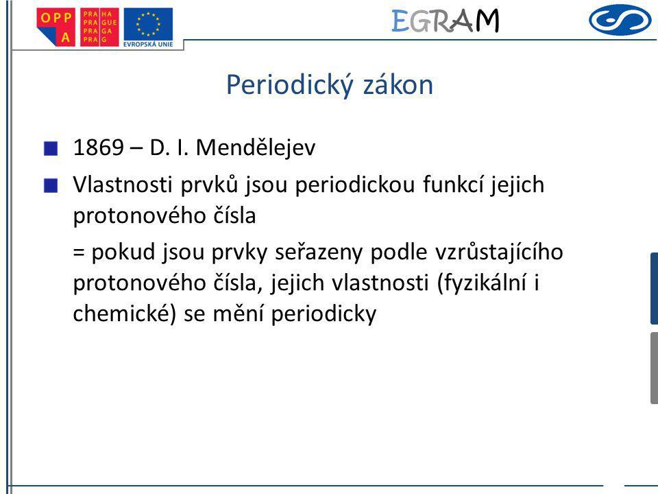 EGRAMEGRAM Periodický zákon 1869 – D. I. Mendělejev Vlastnosti prvků jsou periodickou funkcí jejich protonového čísla = pokud jsou prvky seřazeny podl