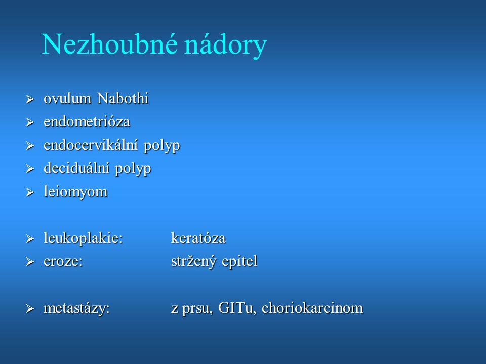 Nezhoubné nádory  ovulum Nabothi  endometrióza  endocervikální polyp  deciduální polyp  leiomyom  leukoplakie:keratóza  eroze:stržený epitel 