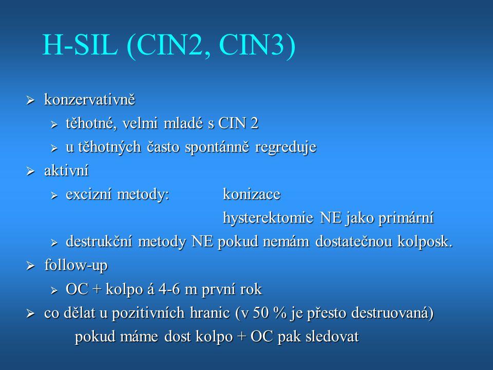 H-SIL (CIN2, CIN3)  konzervativně  těhotné, velmi mladé s CIN 2  u těhotných často spontánně regreduje  aktivní  excizní metody:konizace hysterek