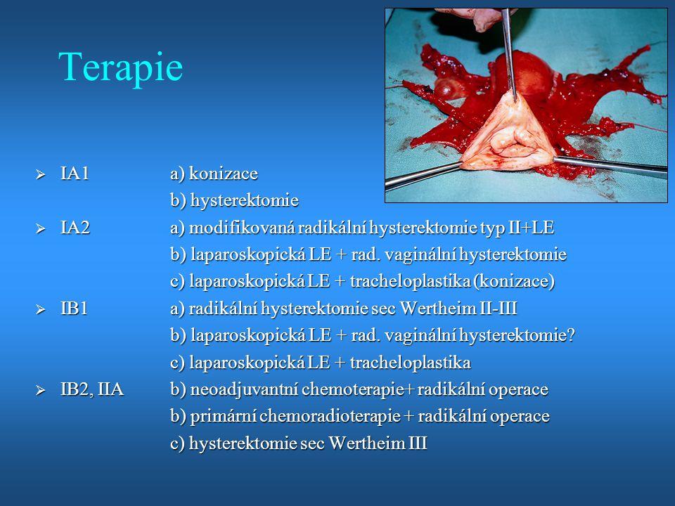 Terapie  IA1a) konizace b) hysterektomie  IA2a) modifikovaná radikální hysterektomie typ II+LE b) laparoskopická LE + rad. vaginální hysterektomie c