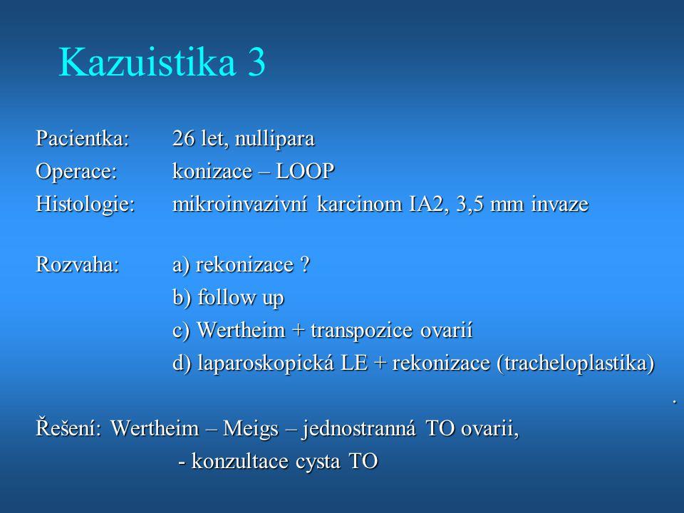 Kazuistika 3 Pacientka:26 let, nullipara Operace:konizace – LOOP Histologie:mikroinvazivní karcinom IA2, 3,5 mm invaze Rozvaha:a) rekonizace ? b) foll