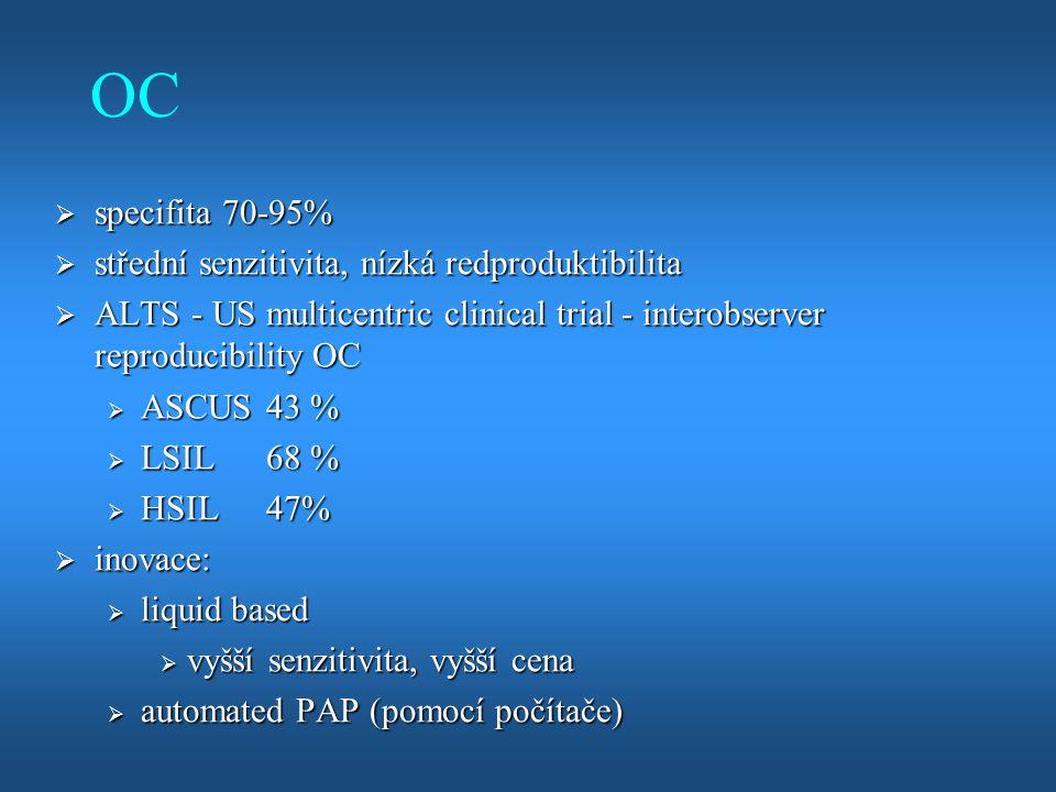 OC  specifita 70-95%  střední senzitivita, nízká redproduktibilita  ALTS - US multicentric clinical trial - interobserver reproducibility OC  ASCU