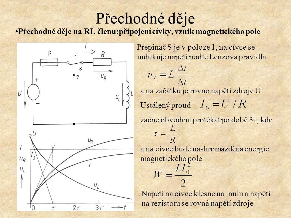 Přechodné děje Přechodné děje na RL členu: zánik magnetického pole Celý děj vybíjení a tedy zánik energie magnetického pole bude ukončen opět za dobu 3τ Přepínač S je v poloze 2 Energie magnetického pole cívky zaniká na rezistoru, napětí na cívce klesá podle exponenciální křivky, stejně tak vybíjecí proud obvodem V lastností obvodů s kapacitou a indukčností se hojně používají v nelineárních frekvenčně závislých filtrech typu propustě, zádrže a pásmové propustě či zádrže