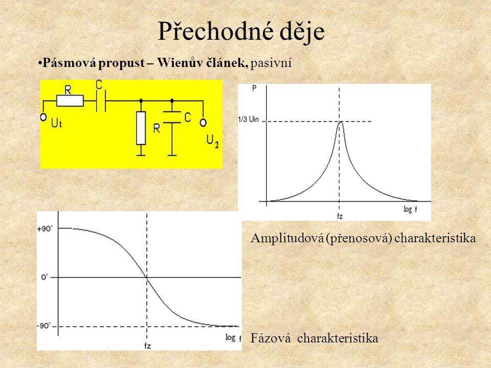 Přechodné děje Pásmová propust – Wienův článek, pasivní Amplitudová (přenosová) charakteristika Fázová charakteristika