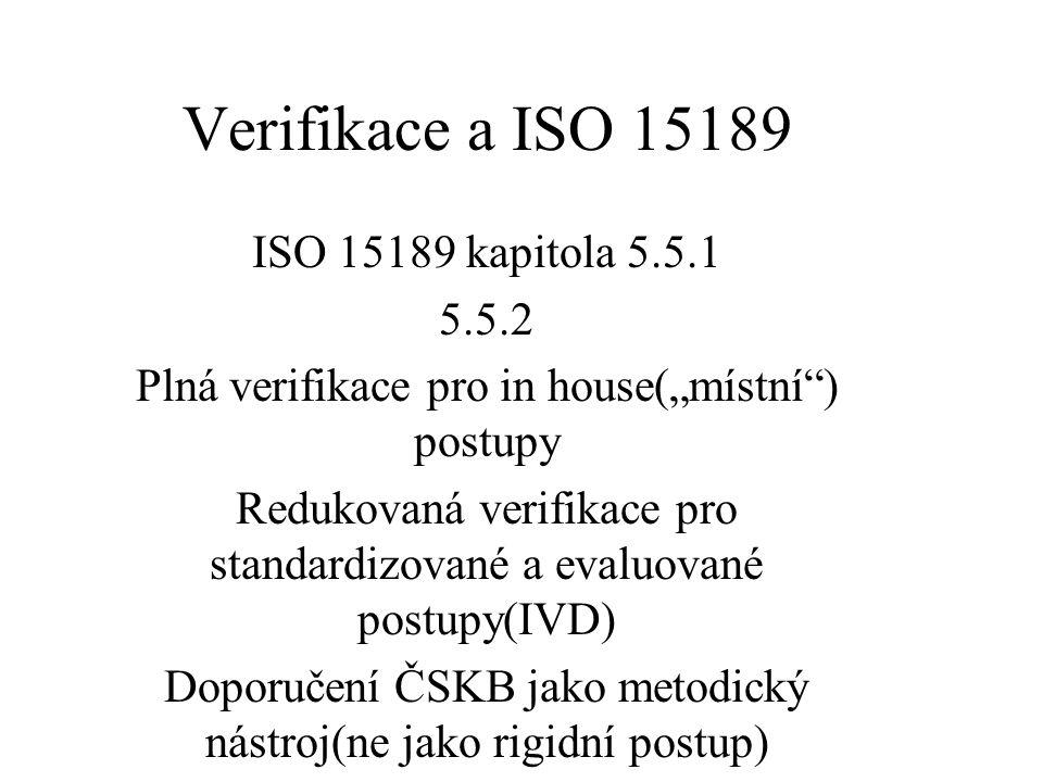 """Verifikace a ISO 15189 ISO 15189 kapitola 5.5.1 5.5.2 Plná verifikace pro in house(""""místní ) postupy Redukovaná verifikace pro standardizované a evaluované postupy(IVD) Doporučení ČSKB jako metodický nástroj(ne jako rigidní postup)"""