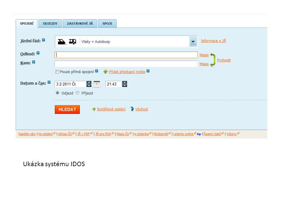 Ukázka systému IDOS