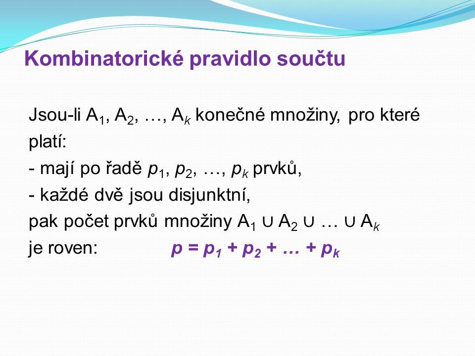 Kombinatorické pravidlo součtu Jsou-li A 1, A 2, …, A k konečné množiny, pro které platí: - mají po řadě p 1, p 2, …, p k prvků, - každé dvě jsou disj