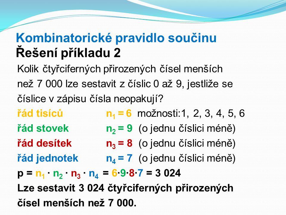 Kombinatorické pravidlo součinu Řešení příkladu 2 Kolik čtyřciferných přirozených čísel menších než 7 000 lze sestavit z číslic 0 až 9, jestliže se čí