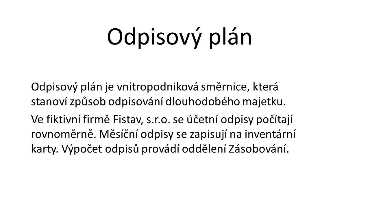Odpisový plán je vnitropodniková směrnice, která stanoví způsob odpisování dlouhodobého majetku.