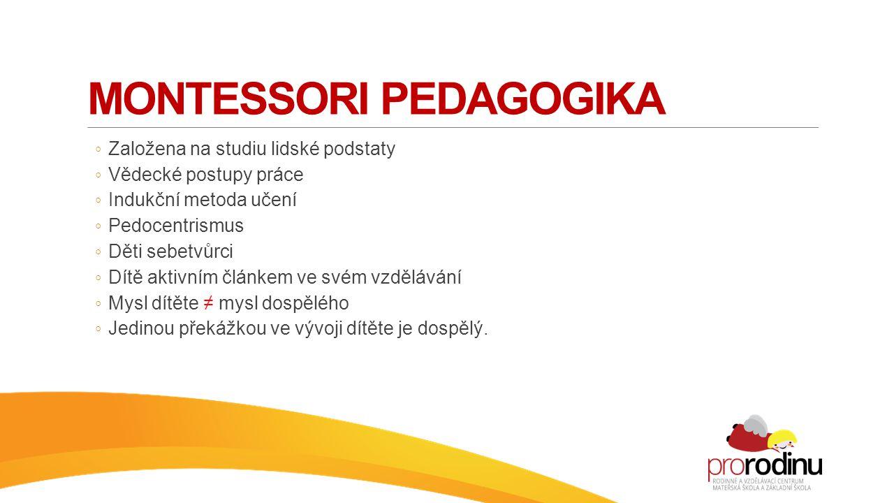 MONTESSORI PEDAGOGIKA ◦ Založena na studiu lidské podstaty ◦ Vědecké postupy práce ◦ Indukční metoda učení ◦ Pedocentrismus ◦ Děti sebetvůrci ◦ Dítě a