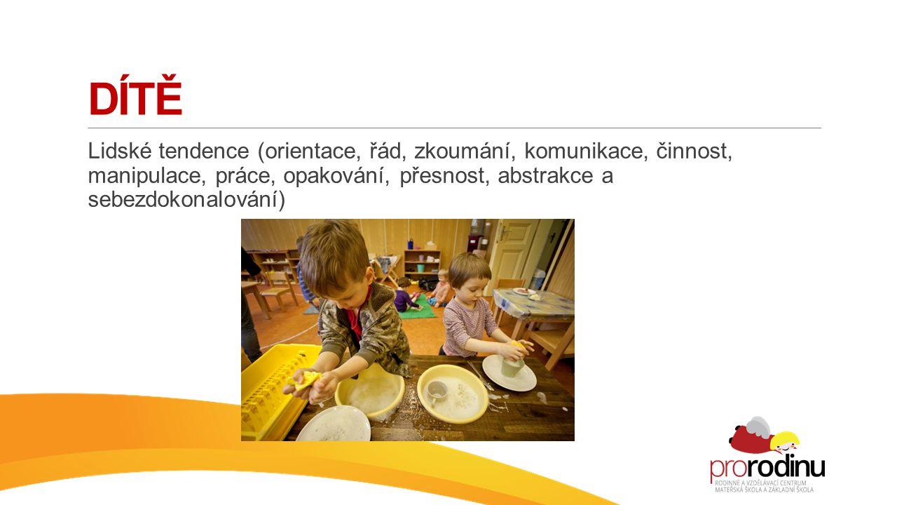 Lidské tendence (orientace, řád, zkoumání, komunikace, činnost, manipulace, práce, opakování, přesnost, abstrakce a sebezdokonalování)