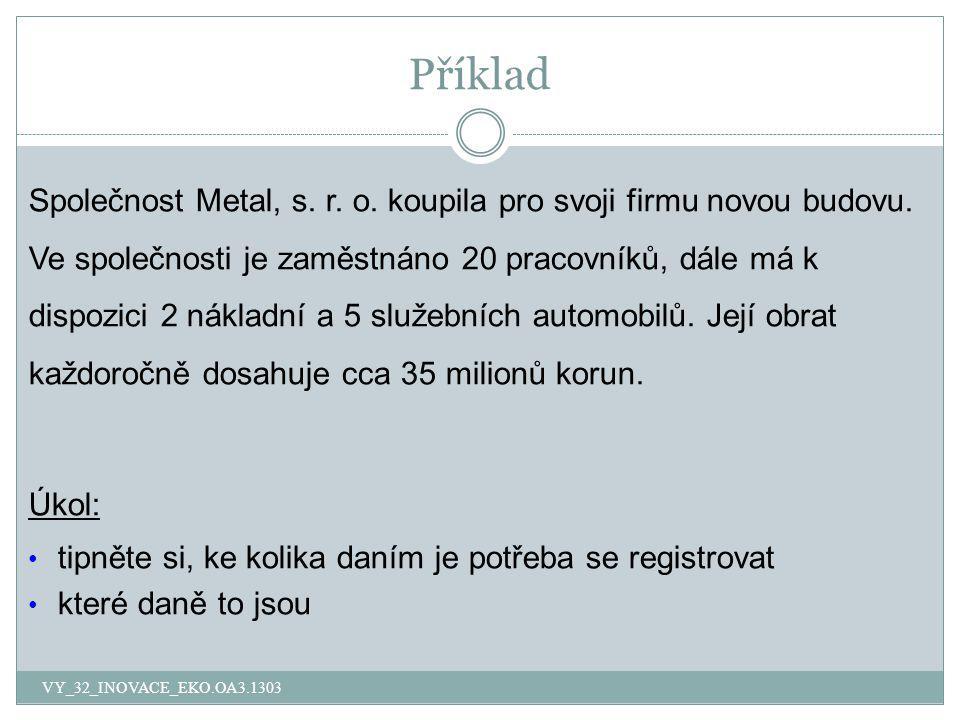 Příklad Společnost Metal, s. r. o. koupila pro svoji firmu novou budovu. Ve společnosti je zaměstnáno 20 pracovníků, dále má k dispozici 2 nákladní a
