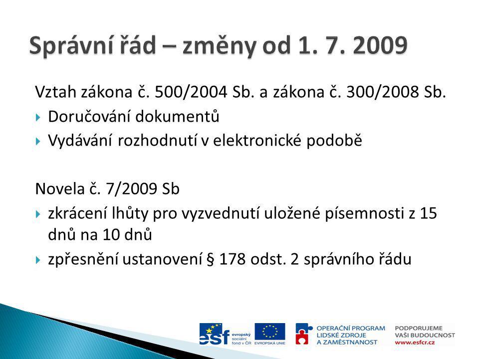 Vztah zákona č. 500/2004 Sb. a zákona č. 300/2008 Sb.  Doručování dokumentů  Vydávání rozhodnutí v elektronické podobě Novela č. 7/2009 Sb  zkrácen