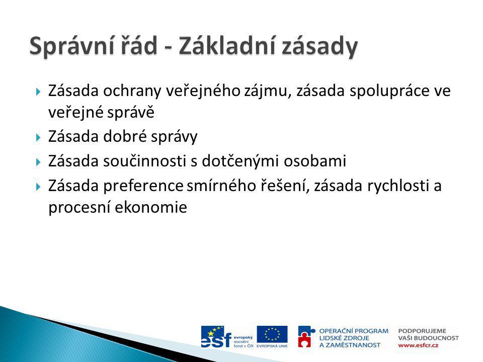  Zásada ochrany veřejného zájmu, zásada spolupráce ve veřejné správě  Zásada dobré správy  Zásada součinnosti s dotčenými osobami  Zásada preferen