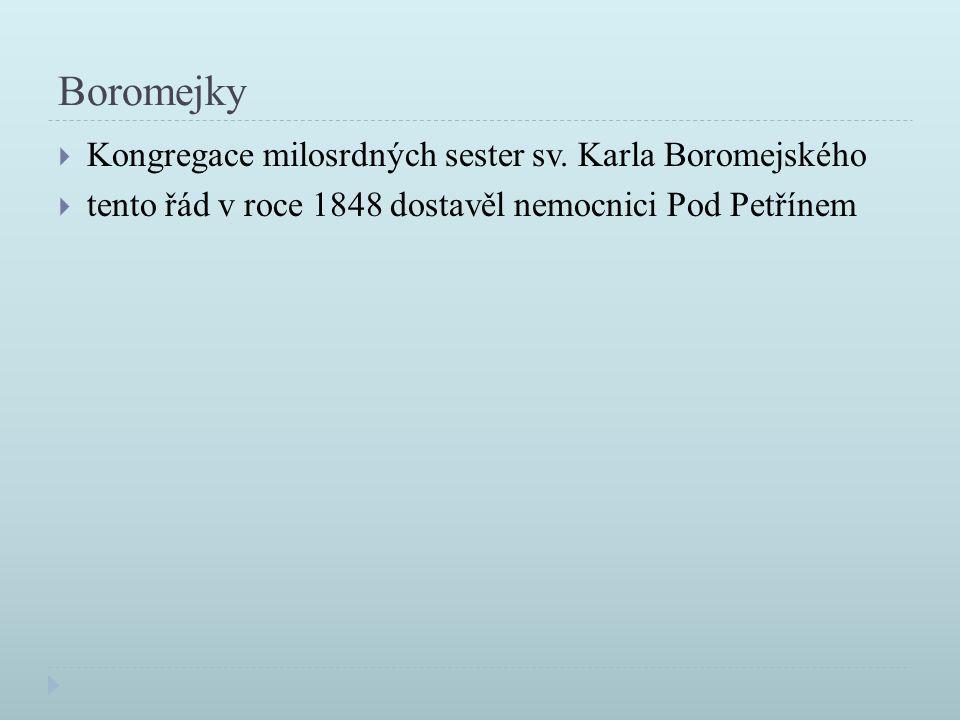 Boromejky  Kongregace milosrdných sester sv. Karla Boromejského  tento řád v roce 1848 dostavěl nemocnici Pod Petřínem