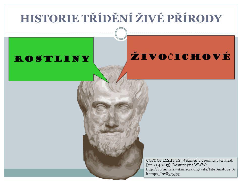HISTORIE TŘÍDĚNÍ ŽIVÉ PŘÍRODY ŽIVO Č ICHOVÉ ROSTLINY COPY OF LYSIPPUS. Wikimedia Commons [online]. [cit. 21.4.2013]. Dostupný na WWW: http://commons.w