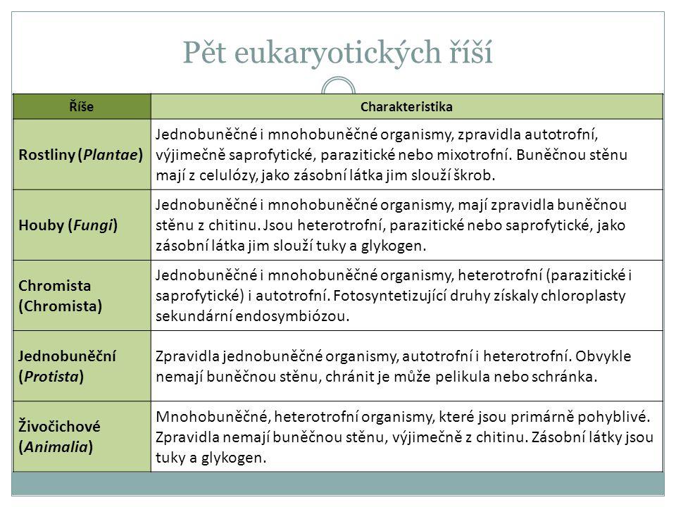 Pět eukaryotických říší ŘíšeCharakteristika Rostliny (Plantae) Jednobuněčné i mnohobuněčné organismy, zpravidla autotrofní, výjimečně saprofytické, pa