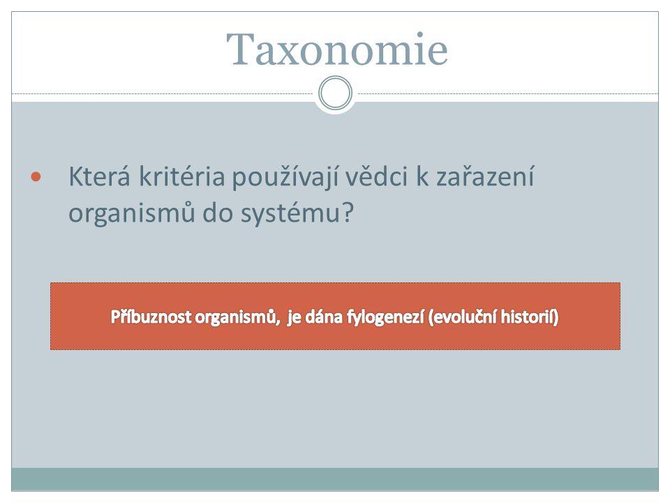 Taxonomie Která kritéria používají vědci k zařazení organismů do systému?