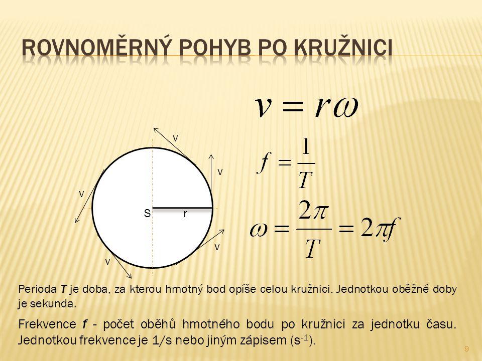 S r v v v v v Perioda T je doba, za kterou hmotný bod opíše celou kružnici. Jednotkou oběžné doby je sekunda. Frekvence f - počet oběhů hmotného bodu