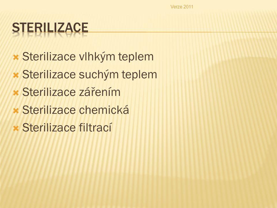  Sterilizace vlhkým teplem  Sterilizace suchým teplem  Sterilizace zářením  Sterilizace chemická  Sterilizace filtrací Verze 2011