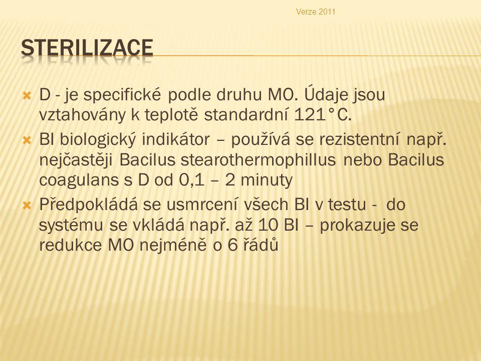  D - je specifické podle druhu MO.Údaje jsou vztahovány k teplotě standardní 121°C.