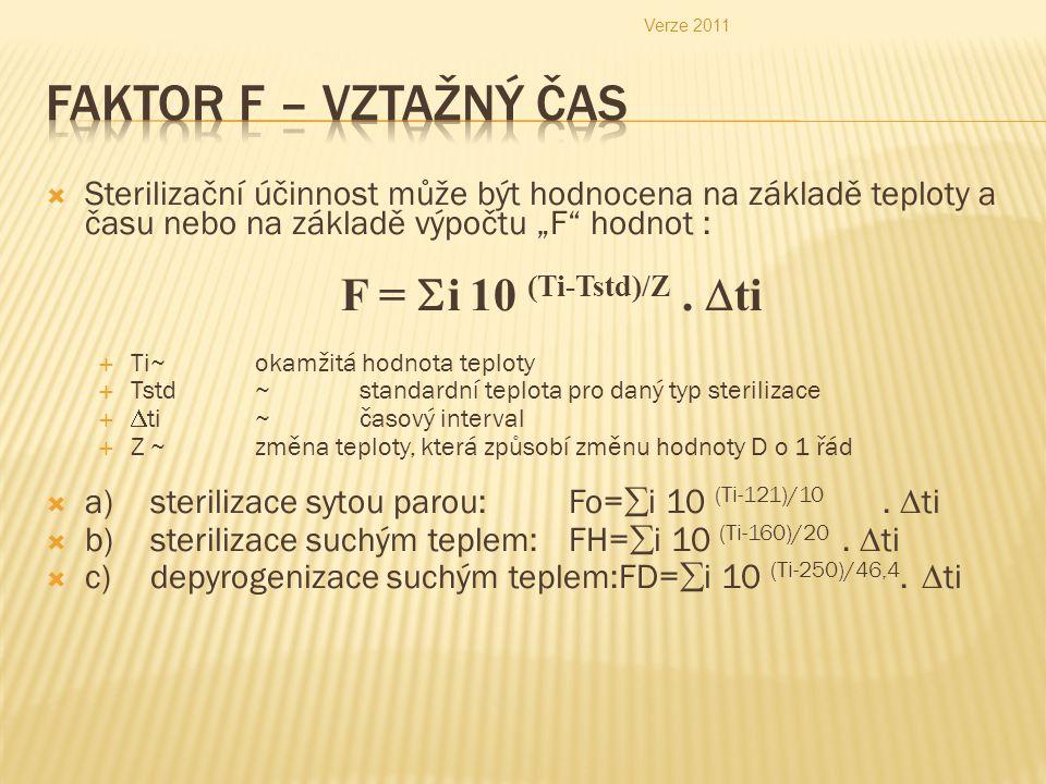 """ Sterilizační účinnost může být hodnocena na základě teploty a času nebo na základě výpočtu """"F hodnot : F =  i 10 (Ti-Tstd)/Z."""