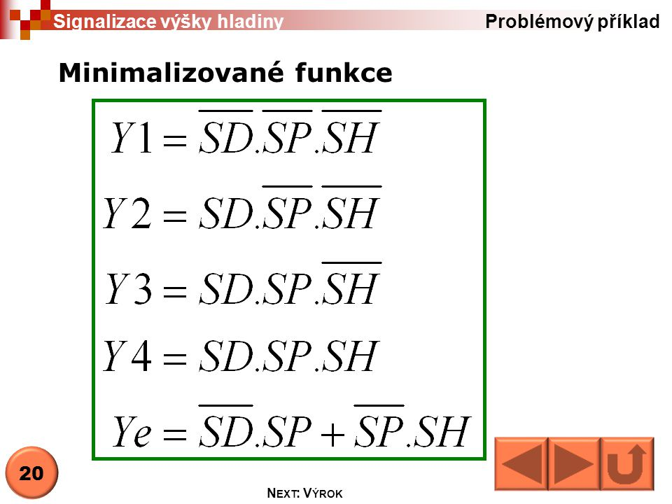 21 N EXT : V ÝROK Problémový příklad Signalizace výšky hladiny