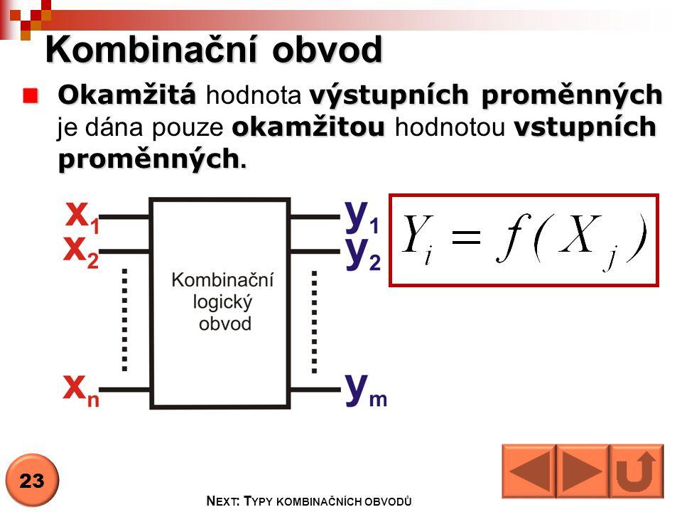 Typy kombinačních obvodů Dekodér a kodér Dekodér a kodér (kódování a dekódování) Multiplexor a demultiplexor Multiplexor a demultiplexor (přepínač) Sčítačka Sčítačka (provádí aritmetické operace) Generátor parity Generátor parity (vypočítává paritní bit) 24 N EXT : D EKODÉR, KODÉR