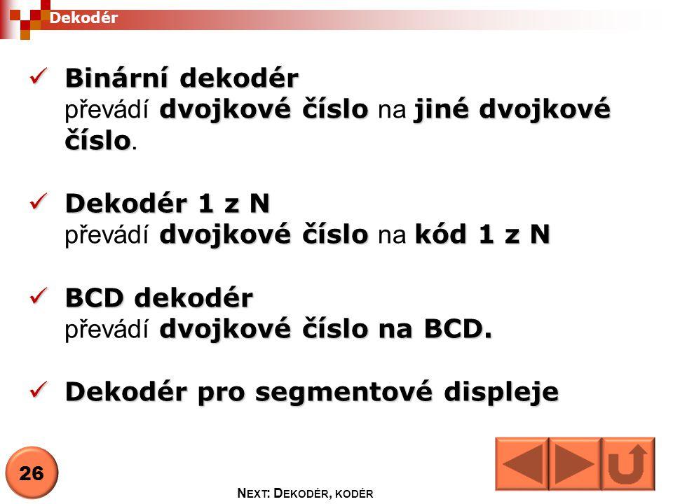 Kód 1 z N znamená, že v každém stavu má pouze jeden výstup hodnotu 1VstupVýstupBAENY0Y1Y2Y3 xx00000 0011000 0110100 1010010 1110001 Dekodér 1 z 4 27 N EXT : D EKODÉR, KODÉR