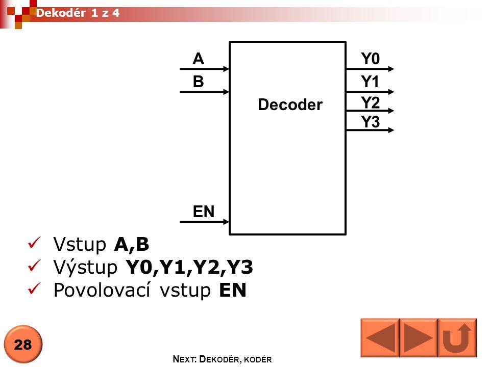 Dekodér z BCD do 7-seg.displej Segment svítí je-li na výstupů log 0, displej je se společnou anodou a b c d e f g 29 N EXT : D EKODÉR, KODÉR