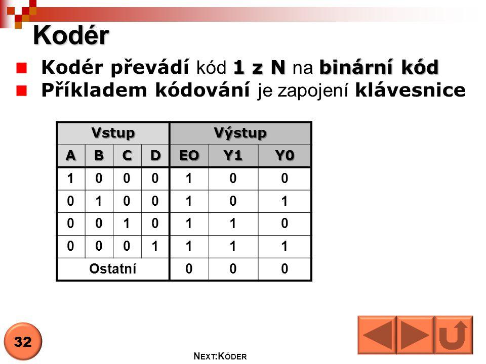 Vstup A,B,C,D Výstup Y0,Y1 Stav výstupu EO Kodér Encoder A B C D Y0 Y1 EO 33 N EXT : D EKODÉR, KODÉR