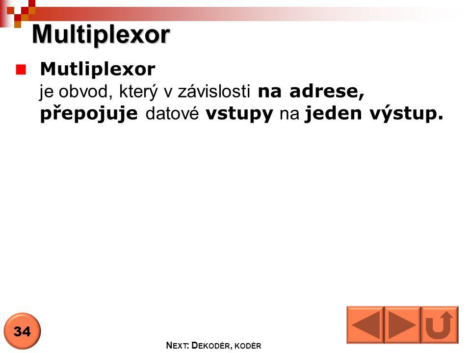 Multiplexor Vstup D0,D1,D2,D3 Adresa A0,A1 Povolovací vstup E Výstup Y 35 N EXT : P RAVDIVOSTNÍ TABULKA