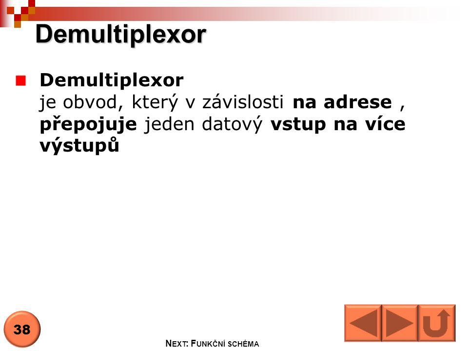 Demultiplexor Vstup D0 Adresa A0,A1 Povolovací vstup E Výstupy Y0,Y1,Y2,Y3 39 N EXT : P RAVDIVOSTNÍ TABULKA