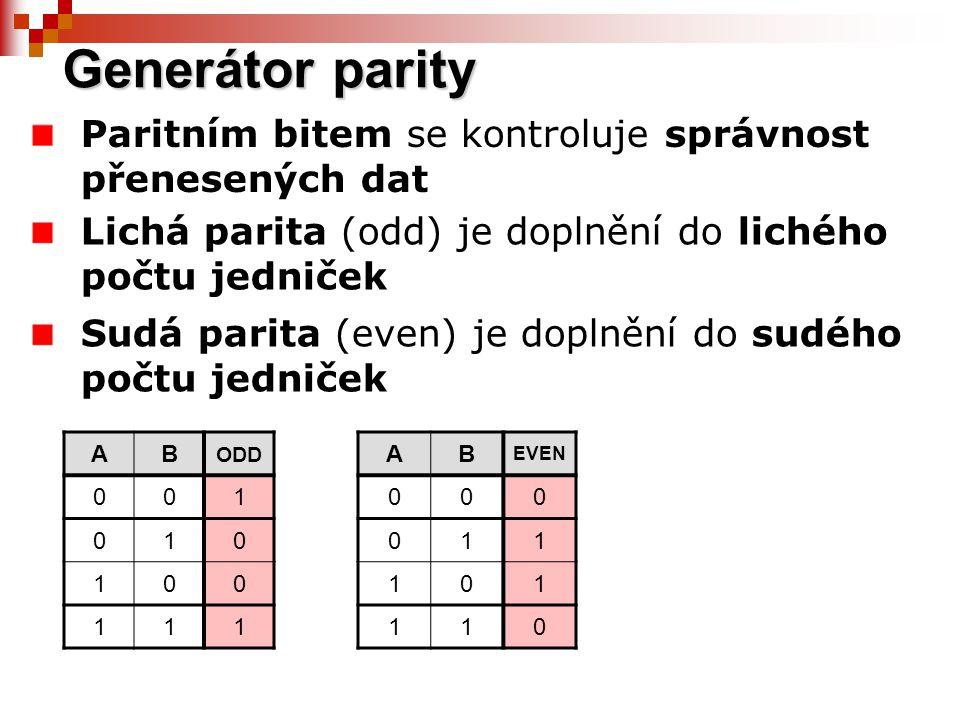 Kontrola parity Po přijetí dat se vygeneruje paritní bit Paritní bit vygenerovaný se porovná obvodem ekvivalence s přijatým paritním bitem