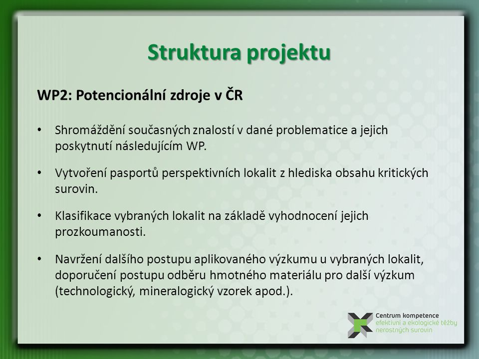 Struktura projektu WP2: Potencionální zdroje v ČR Shromáždění současných znalostí v dané problematice a jejich poskytnutí následujícím WP.