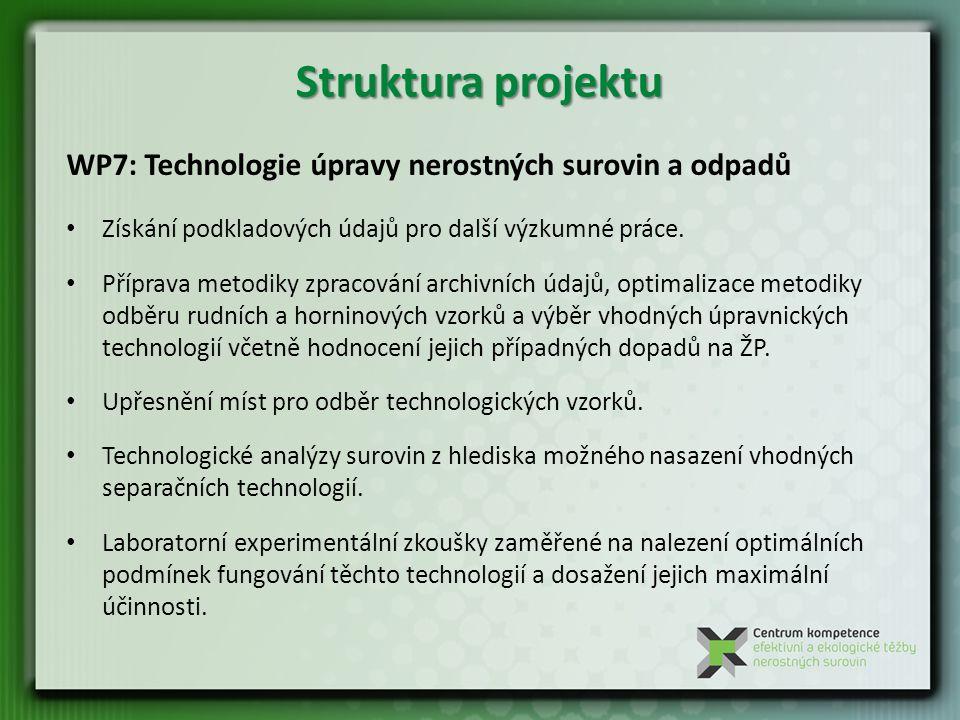 WP7: Technologie úpravy nerostných surovin a odpadů Získání podkladových údajů pro další výzkumné práce.