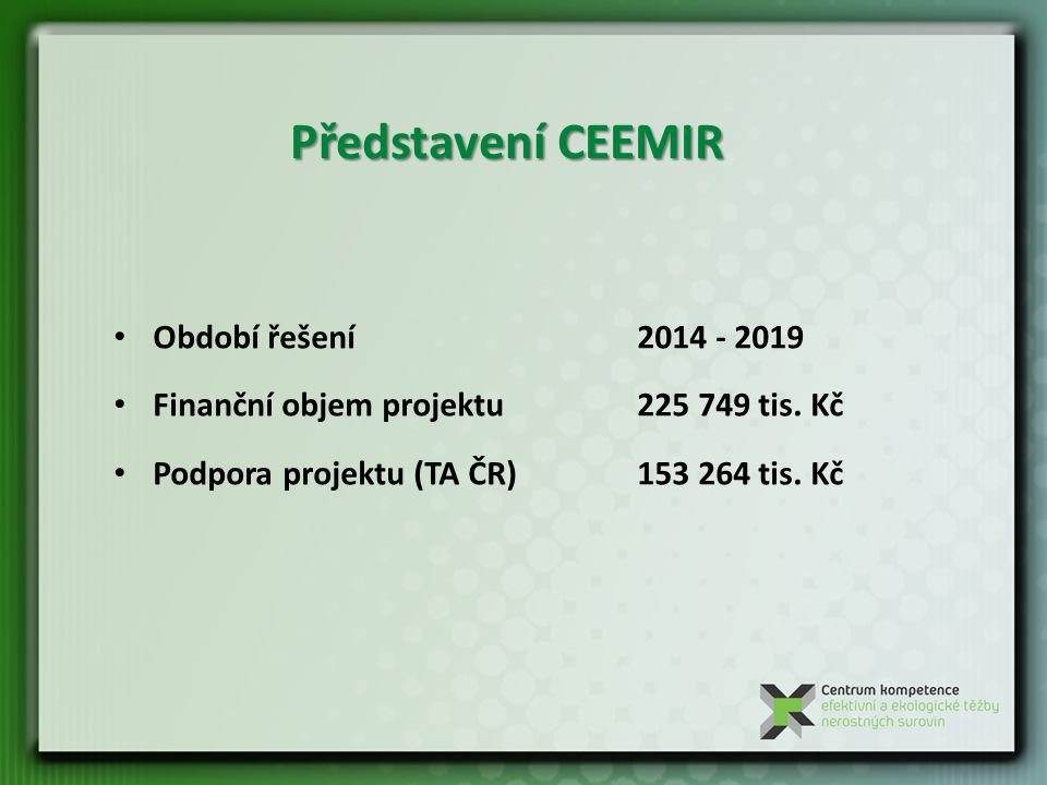 Představení CEEMIR Období řešení 2014 - 2019 Finanční objem projektu225 749 tis.