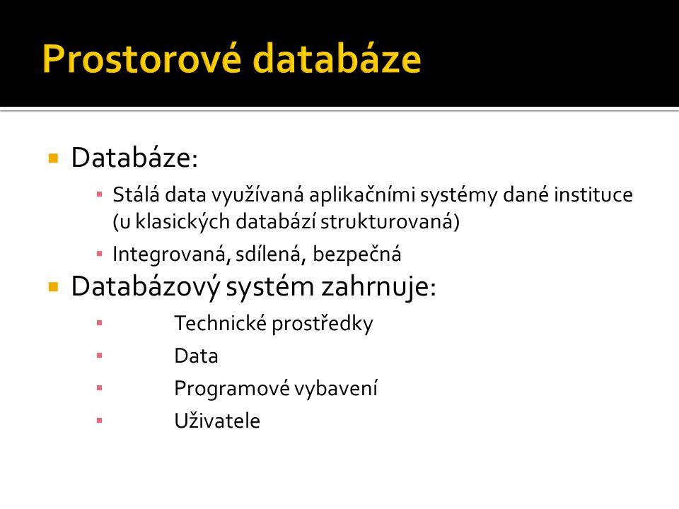  Databáze: ▪ Stálá data využívaná aplikačními systémy dané instituce (u klasických databází strukturovaná) ▪ Integrovaná, sdílená, bezpečná  Databáz